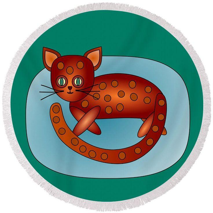 Orange red cat #orange #red #cat #kitten #animal #pet #stylized #cartoon #naiveart #primitiveart #round #beachtowel #summer #relaxation
