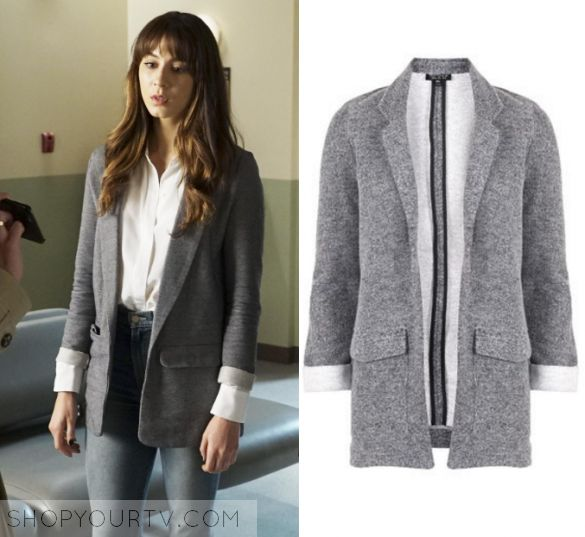 "Pretty Little Liars: Season 7 Episode 13 Spencer's Grey Blazer | Shop Your TV Spencer Hastings (Troian Bellisario) wears this grey roll up sleeve blazer in this episode of Pretty Little Liars, ""Hold Your Piece"".  It is the Topshop Jersey Boyfriend Blazer."