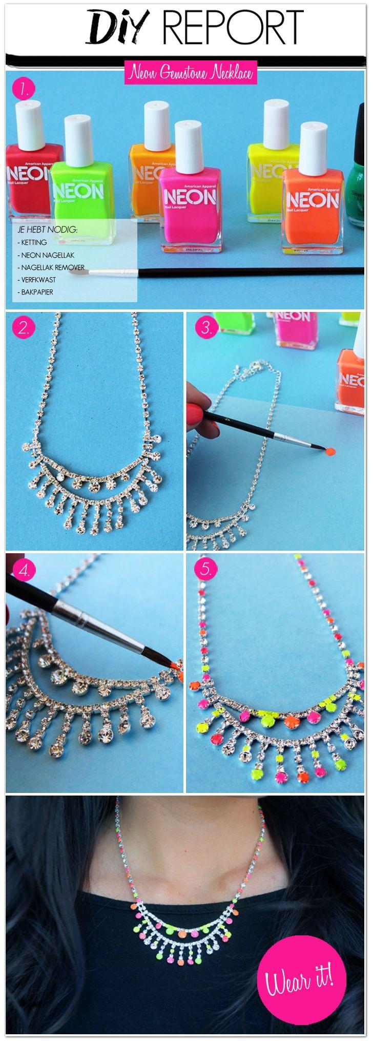DIY Report: Neon Gemstone Necklace #DIY #necklace #gemstone #neon