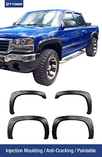 TYGER 4pcs Matte Black Pocket Bolt-Riveted Style Fender Flare Set Fits 1999-2006 Chevy Silverado Pickup Truck. Injection Molding Paintable Offroad Style for Front & Rear and Left & Right sides. (Hardware Kit & DIY Instruction included.) Tyger Auto http://www.amazon.com/dp/B00S8ET1A0/ref=cm_sw_r_pi_dp_WpTnwb0373AK5