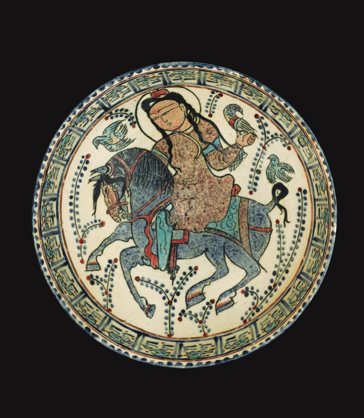 An important mina'i bowl with a falconer on horseback, Persia, Late 12th/early 13th century