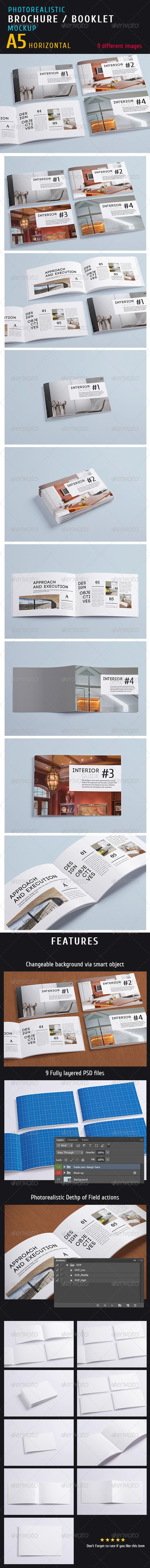 Photorealistic a5 Horizontal Magazine Mock-up  #GraphicRiver        Photorealistic a5 Horizontal Magazine Mock-up Based on smart objects. Features:   9 photorealistic presentations;  Photoshop CS4 compatible;  3000×2000 pixel resolution;  Easy and fast editing via smart objects;  Organizaed Layers and folders;  Changeable background via smart object;      Created: 22August13 GraphicsFilesIncluded: PhotoshopPSD HighResolution: Yes Layered: Yes MinimumAdobeCSVersion: CS4 PixelDimensions…