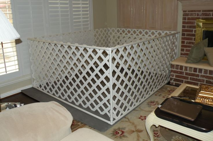 """"""" . . .we fabricated a tall and large xpen [. . .] out of pvc and plastic lattice work from Home Depot, with a gate that flipped up. We kept it up with a bungee cord and also secured it close with the same bungee. [. . .] . .The door was one of the panels that flipped up and was secured by bungee cords. . ."""" {homemade x-pen? - Golden Retrievers : Golden Retriever Dog Forums}"""