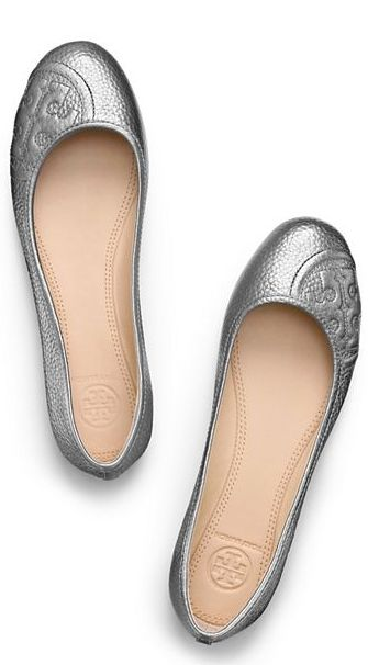 Tory Burch silver ballet flats - take 25% off with code: FRIENDLIEST http: