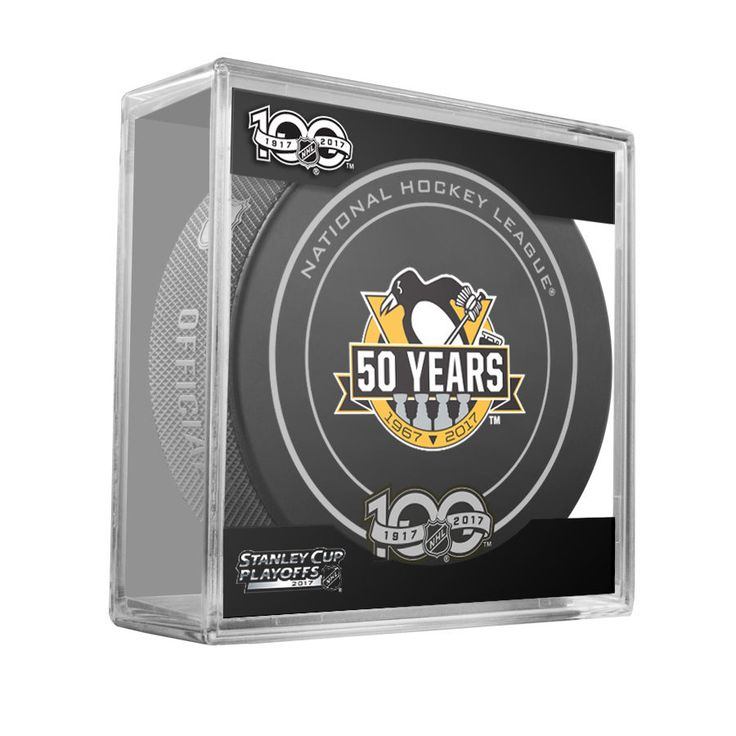 PITTSBURGH PENGUINS 50th 2017 Stanley Cup Playoffs OFFICIAL GAME PUCK 100th Ann #Sherwood #PittsburghPenguins