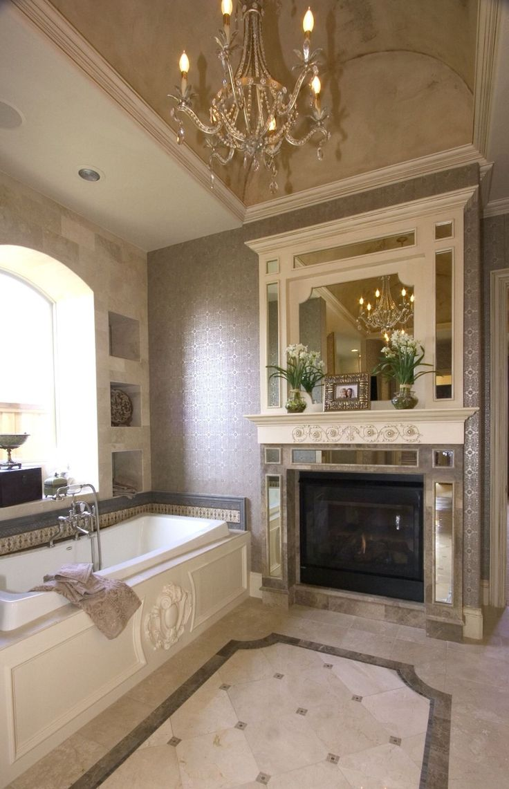 Master Bath With Marble Floors Tub Fireplace Surround Built In Whirlpool Tub Barrel Vault