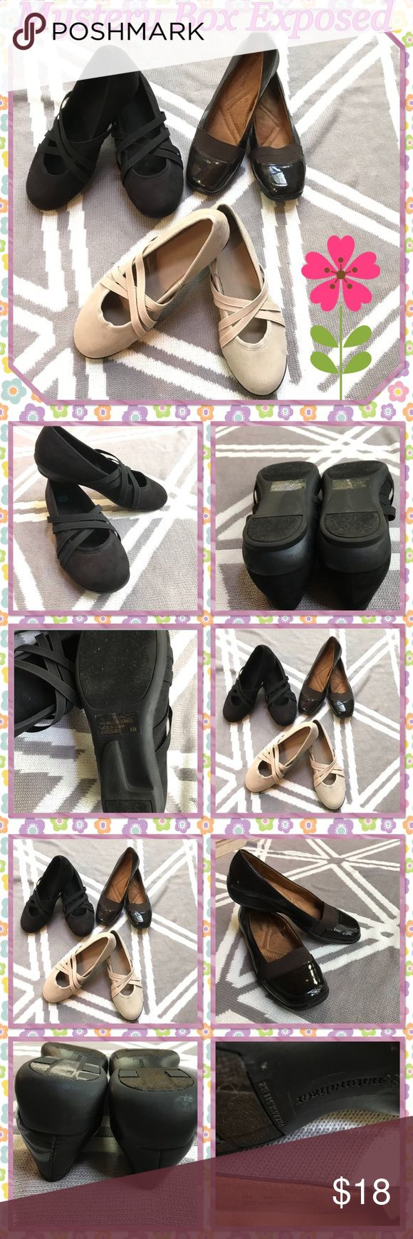 """🔮Mystery Box Exposed Shoes 🔮 Lot of 3 pairs of Size 6 Medium width ladies shoes with 1"""" heel. Black & Tan pairs are a brand called """"Classique,"""" with fabric uppers & the rest man-made materials.  Brown patent shoes are """"Naturalizers,"""" made with quality man-made materials. Gently worn, insoles are cushioned for stepping comfort. Price firm on Mystery Boxes. Fairly priced at $18. PKW Naturalizer, Classique Shoes Flats & Loafers"""