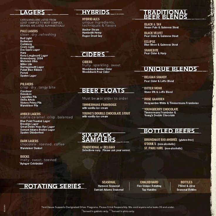 YH Fenway Lagers and Misc Beer Menu Yard House Pinterest - beer menu