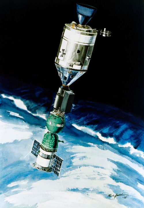 The USA and USSR meet in space during the Apollo-Soyuz Test Project mission, pictured in 1975 NASA concept art by Paul Fjeld.