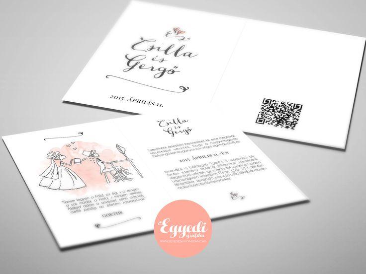 Elegáns, rajzzal illusztrált vintage esküvői meghívó QR-kóddal   Elegant vintage wedding invitation with hand draw and QR code