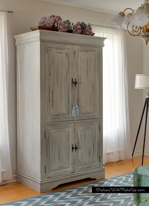 """""""After"""" - Painted in Miss Mustard Seed Milk Paint in Shutter Gray under coat & Grainsack top coat"""