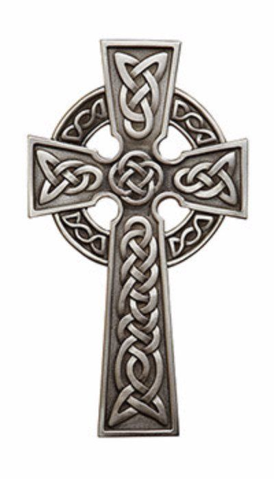 "Irish Celtic Pewter Wall Cross 8"" Tall"
