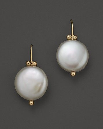 14K Yellow Simple Beaded Earrings with Cultured Freshwater Pearls | Bloomingdale's