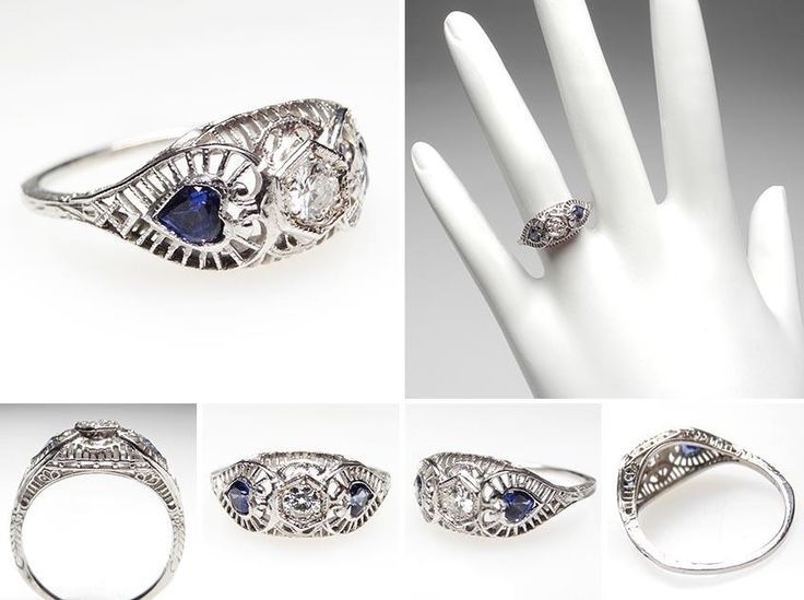 vintage wedding rings 1920 1920s antique diamond heart sapphire engagement ring solid 18k - 1920s Wedding Rings