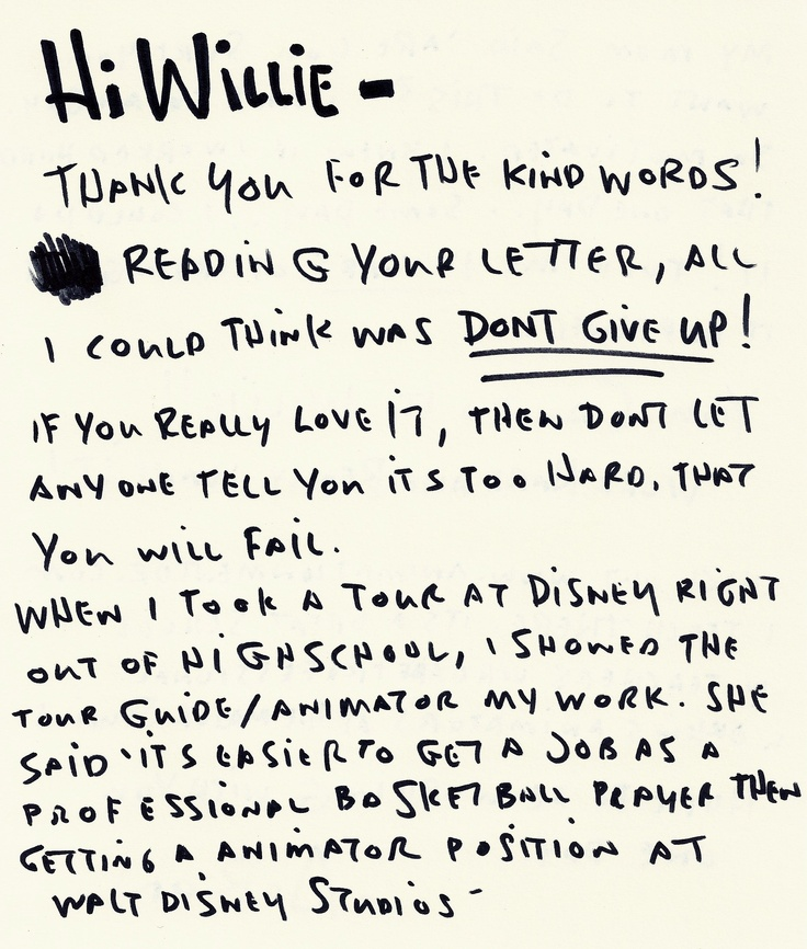 Encouraging letter (pg 1 of 2) written by Pixar animator, Aaron - letter to shareholders example