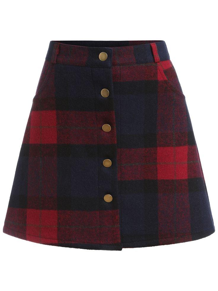 falda línea A una fila de botón cuadrado