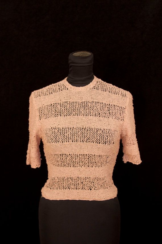 1930's Sweater // Rayon Wool Lacy Open Weave Boucle Sweater Blouse