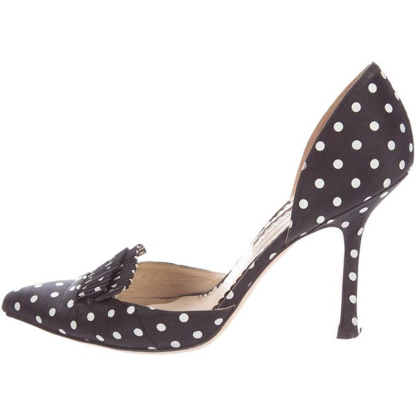 Pre-owned Oscar de la Renta Polka Dot d'Orsay Pumps (2,345 MXN) ❤ liked on Polyvore featuring shoes, pumps, black, black pumps, black polka dot shoes, print pumps, pointy-toe pumps and polka dot shoes