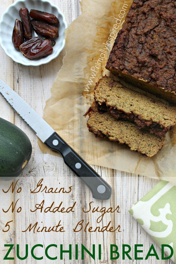 5 Minute Zucchini Blender Bread #PrimallyInspired (Grain Free, No Added Sugar!) use just a couple of dates or substitute.