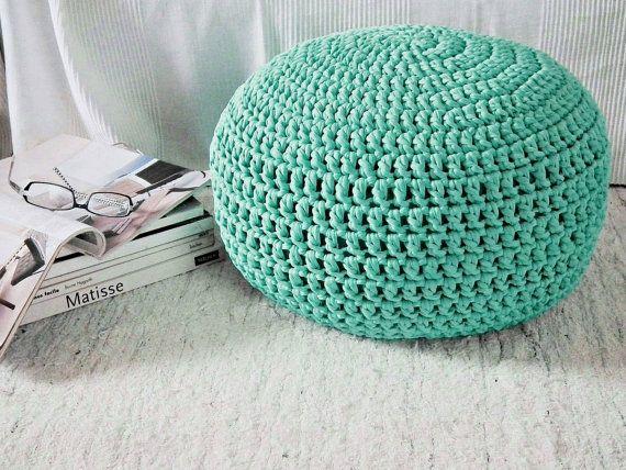 Aqua Nursery Footstool Ottoman Pouf Tiffany by LoopingHome