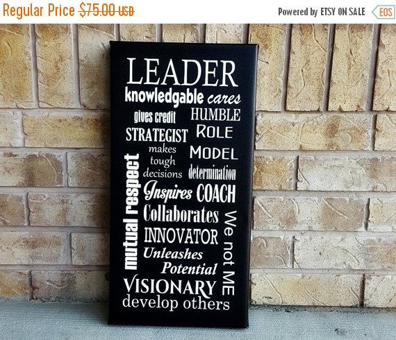 Gift for Boss - Leadership Character - Canvas Art Quotes - Boss Day Gift - Motivational Quote - Inspirational Subway Art - 12x24 Canvas Sign