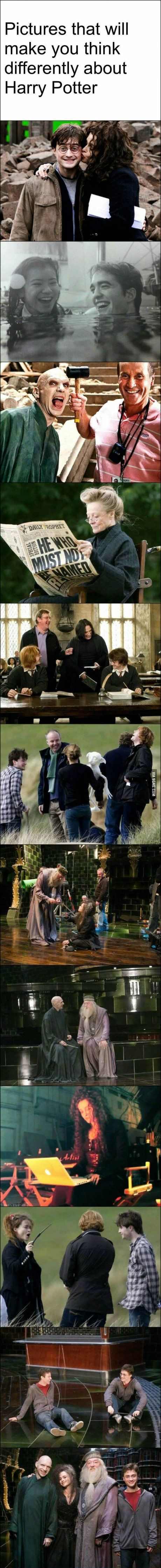 Rare Harry Potter behind the scene photos.