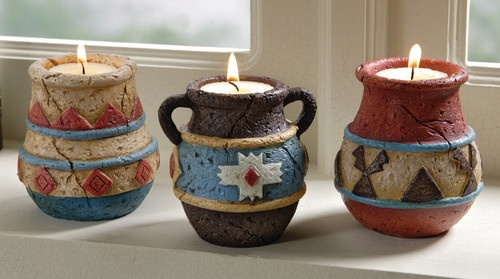 3 PC Adobe Pot Tealight Candle Holders Southwest Decor Home Accent New B5187 | eBay