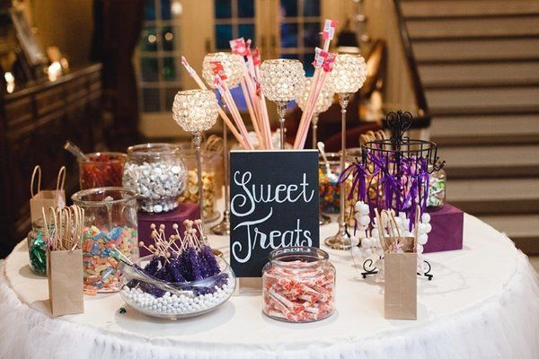 For the kids Wedding favors: licorice, rock candy, chocolate, and salt water taffy