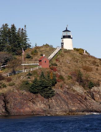 Owls Head Lighthouse, Maine. Located in West Penobscot Bay at the south side entrance to Rockland Harbor.