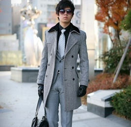 wholesale Lapel Double Breasted Fur Collar Long Sleeve Checks Coat