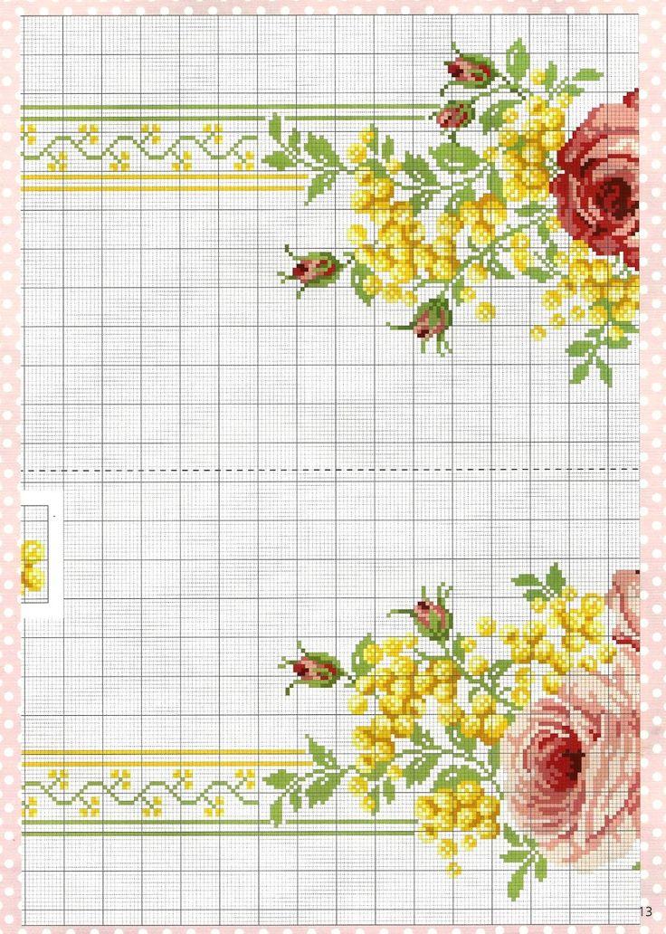 Ricami e schemi a Punto Croce gratuiti: Schema bellissima tovaglia ricamata a punto croce con rose e mimose