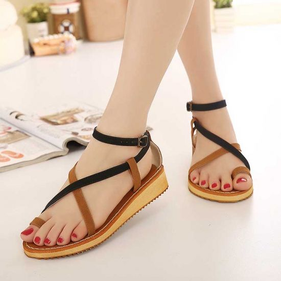 Korean Cross Strap Hollow Pu Toe Ring Low Heel Casual Summer Graceful Flat Sandals