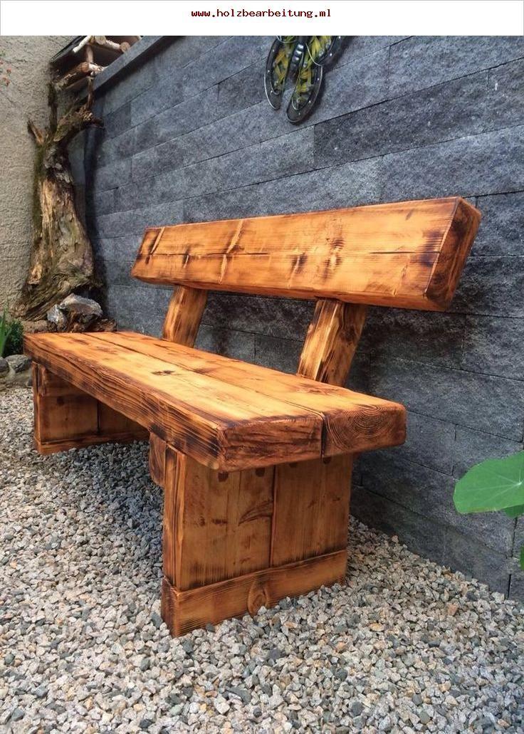 Gartenbank Massiv Holzbank Farbton Teak Gebrannt Holzbear