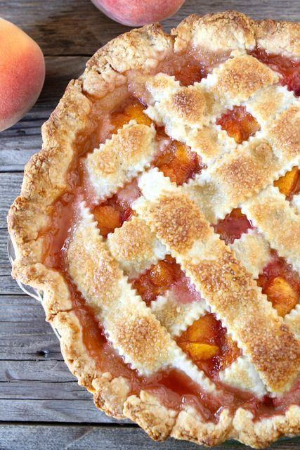 Peach Pie with Perfect Buttermilk Pie Crust on twopeasandtheirpod.com The BEST pie crust ever! Use this crust for all of your Thanksgiving pies!