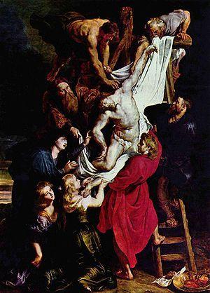 """""""Descendimiento de Jesús"""" es un óleo de Peter Paul Rubens, pintado hacia 1612. Es la segunda parte de un tríptico, donde también se muestran la Visitación de la Virgen y la Presentación de Jesús en el Templo"""
