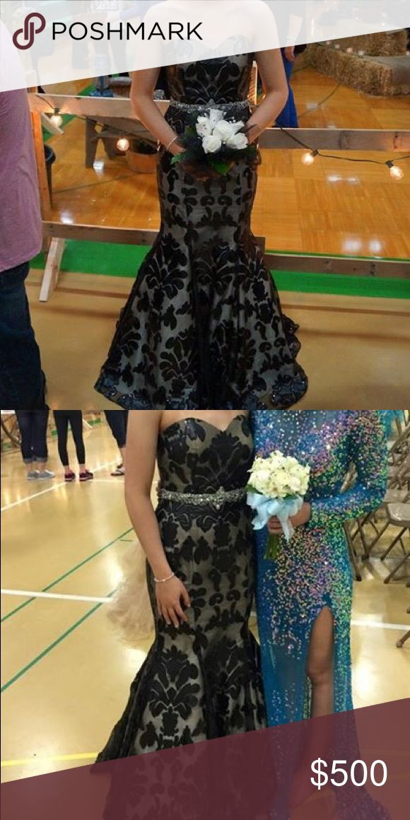 Long formal dress Long dress only worn once for prom! Would fit a size 2-4. The silver rhinestone belt is attached to the dress. Dresses Prom