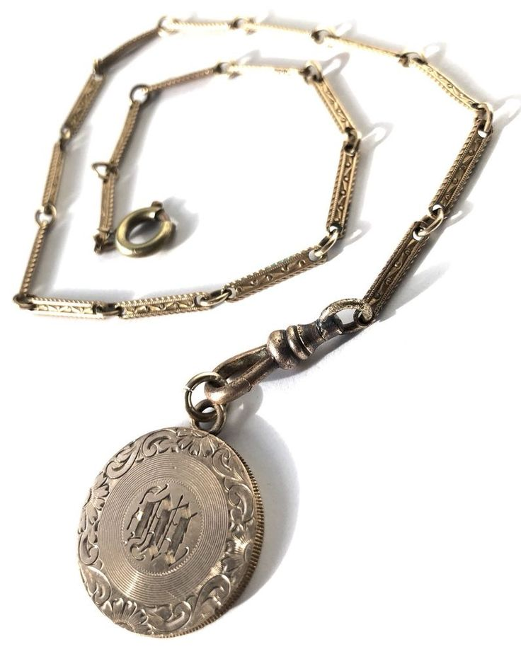 "VICTORIAN GOLD FILLED-WATCH FOB CHAIN-MEDALLION-GOLD FILLED-MONOGRAMMED ""M""  