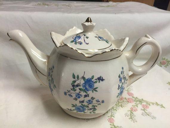 Blue White Teapot Vintage Made in Japan Unique Crimped Collar
