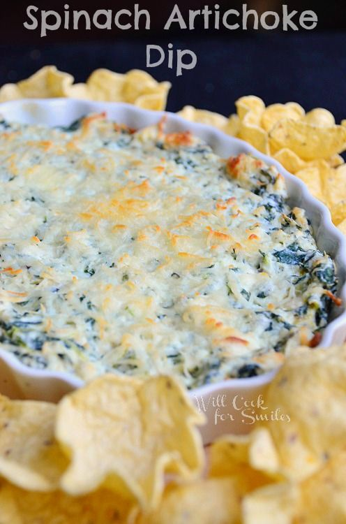Spinach Artichoke Dip | from willcookforsmiles.com | #dip #spinach #appetizer