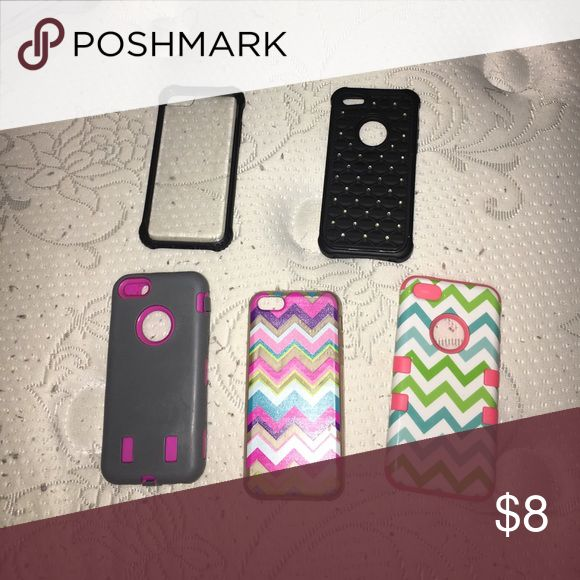 Iphone 5c phone case lot 5 iphone 5c cases! 2 chevron cases, a grey and pink, clear, and a black diamond case! Accessories Phone Cases