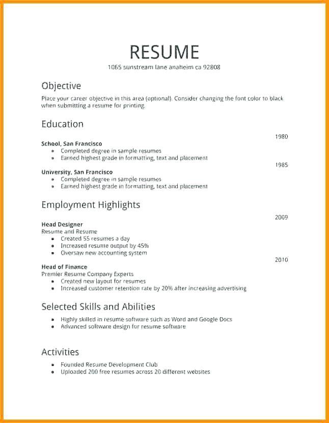 Free Resume Templates First Job Resume Examples In 2020 Simple Resume Examples Good Resume Examples Sample Resume Format