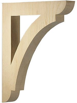 Big wood bracket for open shelves in a kitchen - deep enough for plates and pots