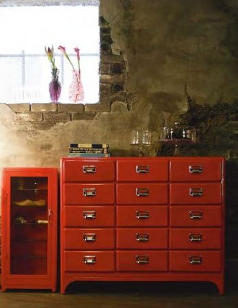 The Dulton 15 Drawer Cabinet Adds A Pop Of Colour In Red And Being Made Of