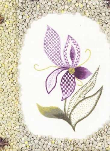Jacobean Orchid Cross Stitch Pattern
