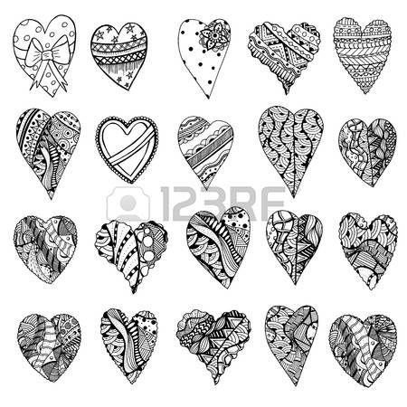 Sada ručně tažené monochromatické srdce v Tangle vzory stylu. Vzor pro omalovánky. Barevné označení stránky pro dospělé proti stresu. Made by stopou z náčrtu. Valentýn pozadí. Reklamní fotografie - 51728891