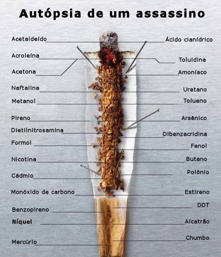 Conheça o cigarro por dentro: A fumaça do cigarro é uma mistura de aproximadamente 4.700 substâncias tóxicas diferentes; que constitui-se de duas fases fundamentais: a fase particulada e a fase gasosa. A fase gasosa é composta, entre outros por monóxido de carbono, amônia, cetonas, formaldeído, acetaldeído, acroleína. A fase particulada contém nicotina e alcatrão. Que tal parar de fumar?