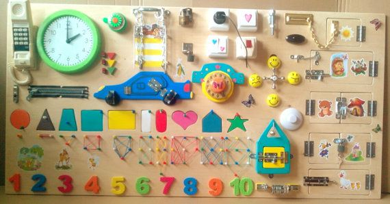 Busy Board: 35 different elements. Size: 120x60 centimeter -------------------------- Please look at all the photos in this listing, it is impossible to make an exact copy. The busyboard are always different, but it is always interesting for o children)) =============================== Toy for children from 6months and up to 5-7 years. Busy Bord develop * coordination * imagination * perseverance * skills of using simple locks * fine motor skills…