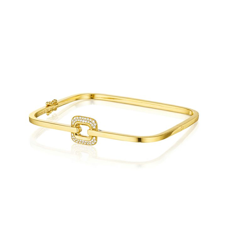 Mimi So - Piece, Bracelets - Piece Diamond Square Bangle 18kt Yellow Gold