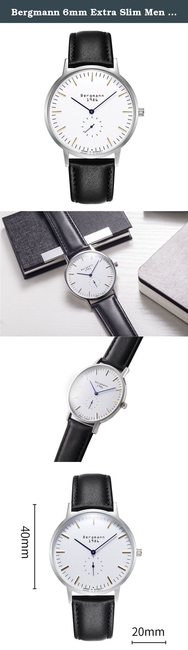 Bergmann 6mm Extra Slim Men Watch Classic Bauhaus Silver Case White Dial Casual Watches Quartz 1986. Bergmann is one of the hot selling watch brands in Germany. Started from 1933 in Schramberg, Bergmann was first well known with its vintage miner series of mechanical watch. In 1990s, Bergmann worked with Jens Richter, a european Bauhaus style designer, to engaged in Bergmann watches production. As time passed, now Bergmann had developed a number of Bauhaus style watches collections...