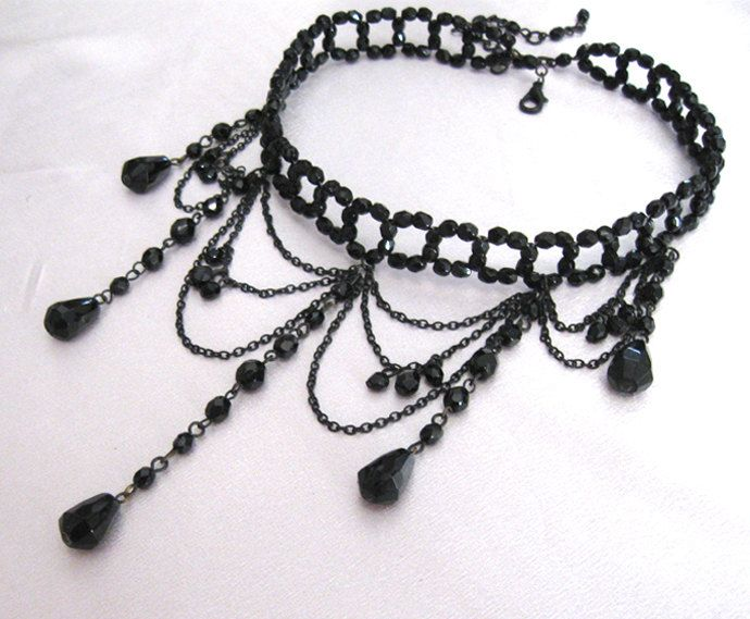 vintage chokers | Vintage Black Victorian Choker Necklace by LovesVintageDelights